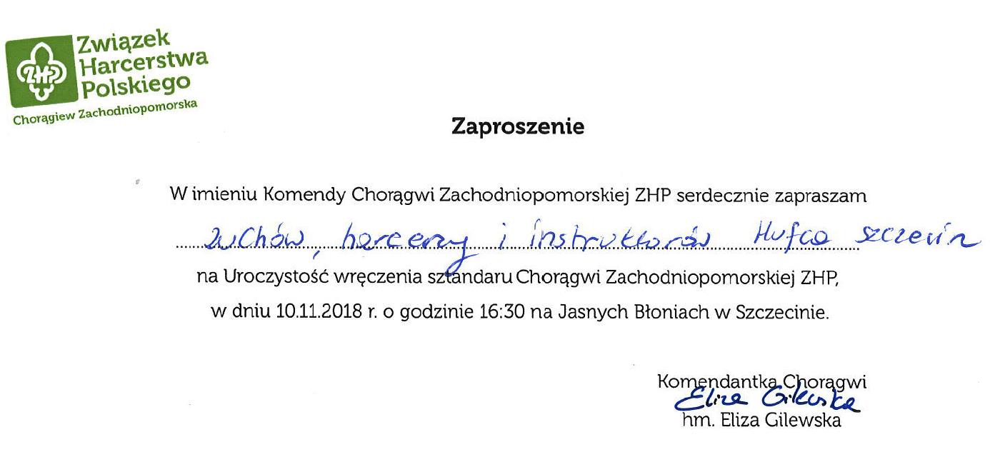 Zaproszenie na uroczystoß© wréczenia sztamdaru Chorágwi Zachodniopomorskiej ZHP